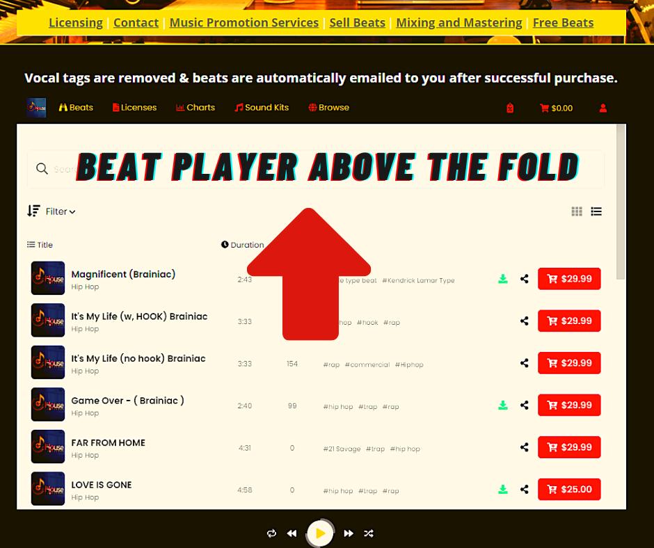 beat selling website